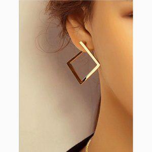 Minimalist Geometric Square Statement Earrings